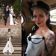 Black & White Mermaid Victoria Wedding Dresses Appliques Beading Bridal Gowns
