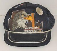 Vintage US Mail Blue Eighties 80s Snapback Trucker Hat Eagle Express Mail Zip+4
