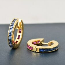 2.12ct Natural Blue Sapphire Ruby Gemstone 14kt Real yellow gold Huggie earrings