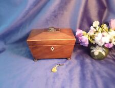 More details for george iii sarcophagus tea caddy, 2 division, flame mahogany, lockable,