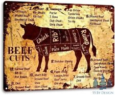 VINTAGE Beef Cuts Cow Cattle Kitchen Butcher Farm Ranch Rustic Metal Decor Sign