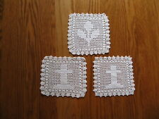 """LOT OF 3 ~ 6"""" Square VINTAGE White Cotton Doiles 2 CROSSES & 1 FLOWER EUC"""
