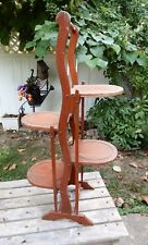GREAT Vtg Wood Folding 4 Tier Muffin Cake Stand H 34""