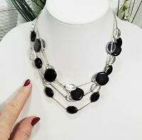 Vintage Black and Clear Flat Bead Floating Illusion Multi Strand Choker Necklace