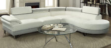 White Grey Contemporary Faux Leather 2pcs Sectional Sofa Chaise Living Room Set