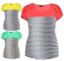 Ladies Stripe Top New Womens Plus Size Short Sleeve Chiffon Tunic T-Shirt 16-28