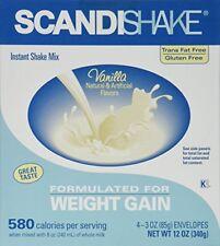 Scandishake Weight Gain Instant Shake Mix Powder Vanilla 12 Oz