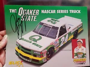 Jack Sprague Quaker State Truck  Postcard autographed from the 1996 season