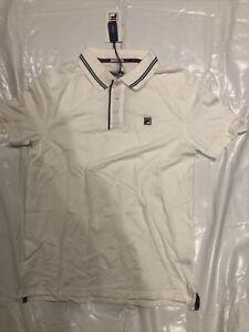 Fila Vintage White Polo Shirt Tshirt Casual Slim Fit Classic Football Large BNWT
