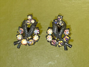 Sparkling Vintage 40s Rhinestone Clip on Earrings