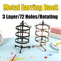 72 Holes 3 Layer Metal Earrings Rotating Display Rack Jewelry Organizer Holder !