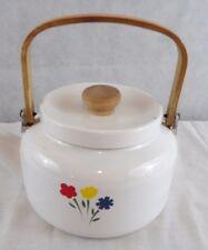 White Enamel Metal  Tea Pot Kettle Wood Handle Flowers on Side