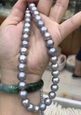 stunning 10-11mm south sea  round silver grey  pearl necklace 18inch 925s