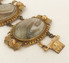 Fine ESTATE Antique Victorian - Rolled Gold Gilt - Scottish Agate Bracelet C1890