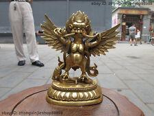 "7""Tibet Tibetan Refined Pure Brass Garuda Bird God Tantric Buddha Statue"