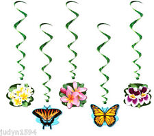 LUAU SWIRLS HANGING PARTY DECORATIONS BUTTERFLY HIBISCUS GARDEN MOTHERS DAY LUAU