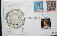1977 Jersey Sterling Silver Frosted Proof 25p Twenty Five Pence Coin Stamp Cover