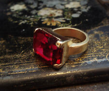 Ruby Red Crystal Matt Gold Ring Made with Swarovski Elements