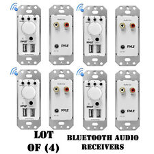 Lot of (4) Pyle PWPBT67 In-Wall Bluetooth Audio Receiver, Dual USB Charger, AUX
