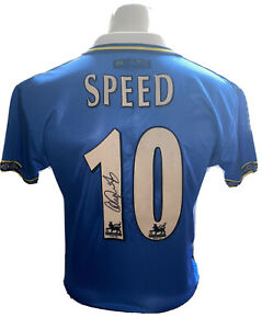 Signed Gary Speed Retro Everton Home Shirt Bolton Leeds Newcastle Wales
