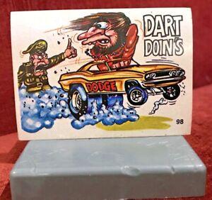 1970S SCANLENS ODDEST ODD RODS STICKER #98 DODGE HEMI DART MUSCLE CAR DONRUSS!!!