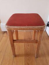 Vintage Retro Wooden Kitchen Stool 50's 60's Red Vinyl Top