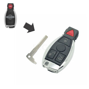 4 Buttons Modified Remote Key Shell Case Uncut fit for MERCEDES BENZ NEC Models