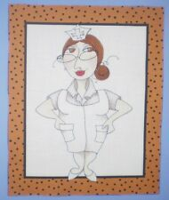 WHIMSICAL LORALIE LADY WARD MEDICAL NURSE QUILTING BLOCK FABRIC PANEL FRAME #13