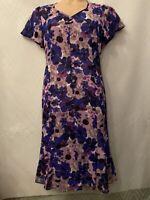Eastex Size 12 Floral Blue Dress Lined Wedding Guest Summer Purple Flowers Med