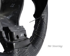 Para Vw Transporter T5 Negro De Cuero Perforado volante cubierta Gris Stitch