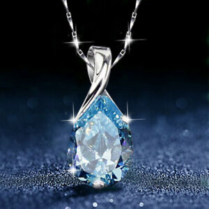 925 Sterling Silver Necklace with Water Drop Shaped Aquamarine Pendant UK Seller