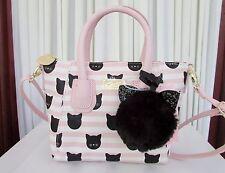 Luv Betsey Johnson Small Black Cat Crossbody Satchel Stripes Pink Bag NWT