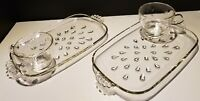 Vintage 1950's Two Sets Luncheon Tea Snack Plates & Cups Clear Glass Tear Drop