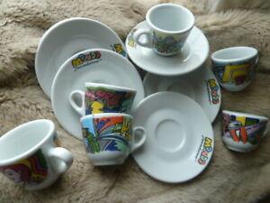 x6 Mondo by Saturnia (Italy) Pop Art Espresso Cups & Saucers.
