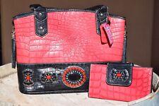 Red & Black Genuine Leather Embossed Alligator Handbag & Wallet Set