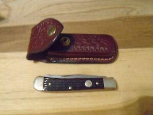 J. A. Henckels Trapper Pocket Knife Brown Bone Handles Solingen Germany w/case