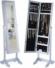 """LED Light Jewelry Cabinet Armoire with Mirror, Large Storage 57"""" Tall Mirrored"""