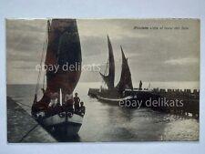 RICCIONE pescatori animata barca vela levar sole Rimini vecchia cartolina