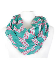Turquoise and Coral Moroccan Chevron Infinity Scarf