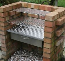 HEAVY DUTY DIY Brick Charcoal BBQ & Oven/Cupboard Stainless Steel Grill