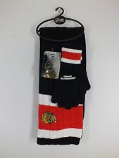 CHICAGO BLACKHAWKS NHL ADULT OSFA SCARF & GLOVES SET NEW BY LITTLEARTH A122