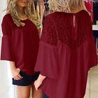 AU8-24 Boho Women Lace Crochet Embroidery Floral Splice Loose Top Blouse T Shirt
