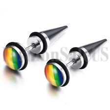 Punk Spike Stainless Steel Rainbow Unisex LGBT Gay Rivet Ear Studs Earrings 2pcs