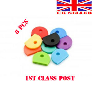 8X Colour Key Cap Caps Top Head Covers Tags ID Markers Keyring Mixed Colours New