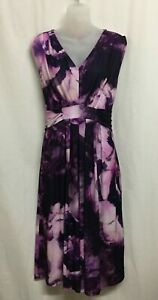 Together Size 16-18 Eur 46 Dress Midi Stretch Sleeveless Purple Floral Ruched