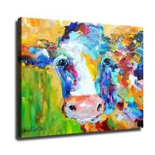 "16""x20""Colored abstract cow posters Home Decor Hd Canvas Print Wall Art Picture"