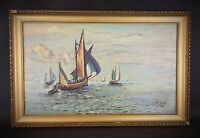 ART DÉCO Peinture HST 1927 Tableau Marine «Anciens Gréements» signé R.GRELOT