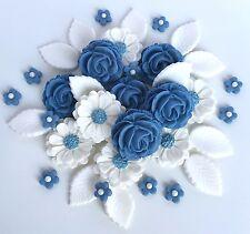 Powder Blue Roses Bouquet Cake Decorations Topper Sugarpaste Edible Flowers