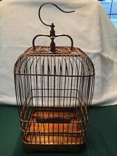 Vintage Wooden Bird Cage Birdcage Hanging / Table Shabby Carved Vintage Bamboo