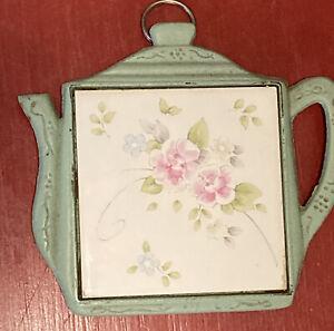 Vintage Trivet Cast Iron Ceramic Tile Teapot Floral Motif Green Pink Wall Decor